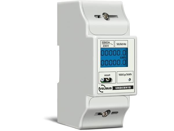 SINGLE-PHASE kWh METER FOR DIN-RAIL MOUNTING - 2 MODULEs