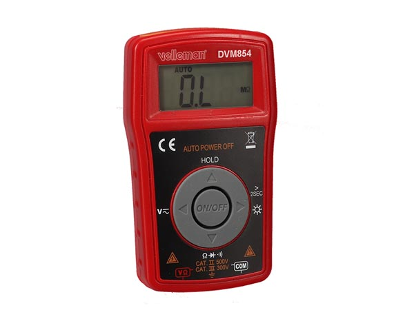 DIGITAL MULTIMETER AUTOMATIC - CAT III 300 V / CAT II 500 V - 10 A- 2000 COUNTS WITH DATA HOLD / BACKLIGHT FUNCTIONS
