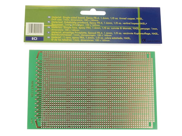 Eurocard Ic Pattern - 100x160mm - Fr4 (1pc/bl.)