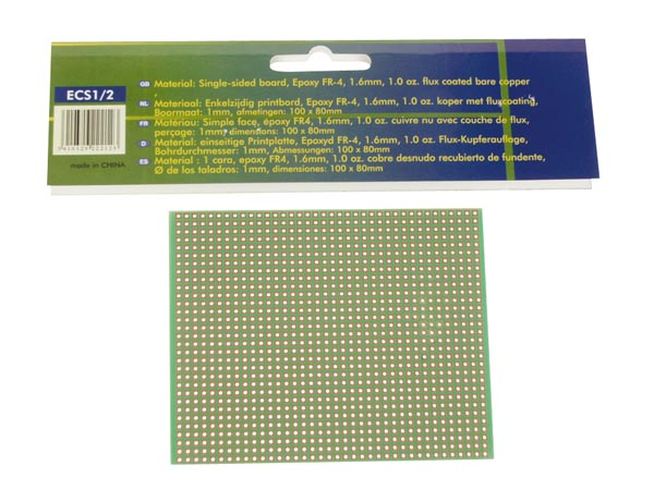 Makettplaat: EUROCARD 1-avaga saared- 100x80mm - FR4 (1tk./blister.)