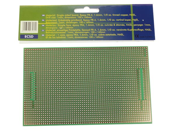 Makettplaat: EUROCARD SUBD25/CENTR - 100x160mm - FR4 (25 tk./karp)