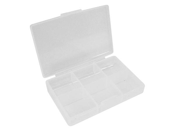 Plastic Storage Box (62 X 86 X 19mm / 2.44in X 3.35in X 0.75in) - 6 Compartments