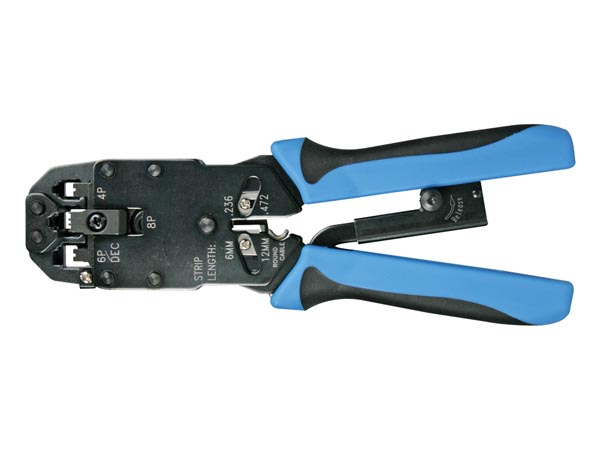 PROFESSIONAL CRIMPING TOOL FOR MODULAR CONNECTORS 4P4C (RJ10), 6P4C (RJ11), 8P8C (RJ45), DEC