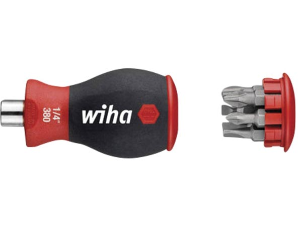 Wiha Screwdriver with bit magazine magnetic Slotted, Phillips with 6 bits, Stubby, 1/4