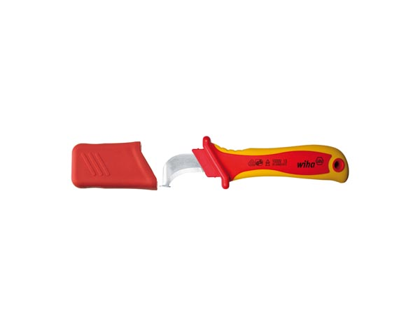 Wiha Cable stripping knife hooked blade with sliding shoe for round cable, in blister pack (36053) 200 mm