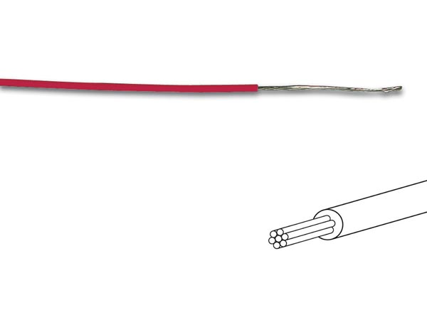 Mounting Wire 18x0.193mm (0.50mm� ) Red, Multicore, Length On Reel : 100m