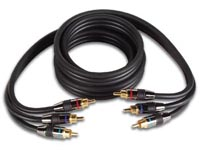 CABLE VIDEO RCA HAUTE QUALITE 1.5m, 2 x 3 CONTACTS RCA DORES, REPERAGE JBR, METALLIQUE, NOIR