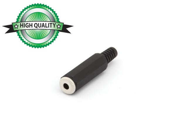 3.5mm FEMALE JACK CONNECTOR - BLACK PLASTIC MONO