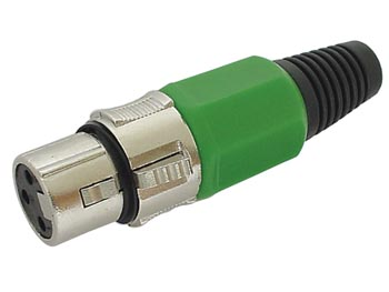 3P FEMALE XLR PLUG - NICKEL - GREEN