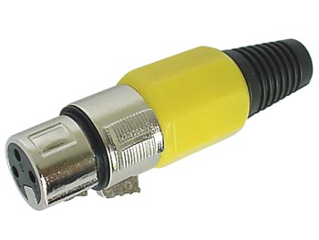 3P FEMALE XLR PLUG - NICKEL - YELLOW