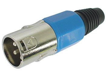 3P MALE XLR PLUG - NICKEL - BLUE