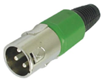 3P MALE XLR PLUG - NICKEL - GREEN