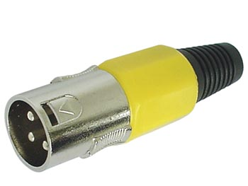3-PIN MALE XLR PLUG - NICKEL - YELLOW