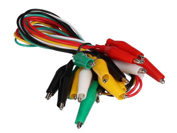 Set With 10 Wires - 55 Cm - 5 Colours With Booted Crocodile ClIPS - 35 Mm