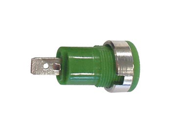 4mm Plug Female Green, Faston Connection, Chassis Mount, Iec1010
