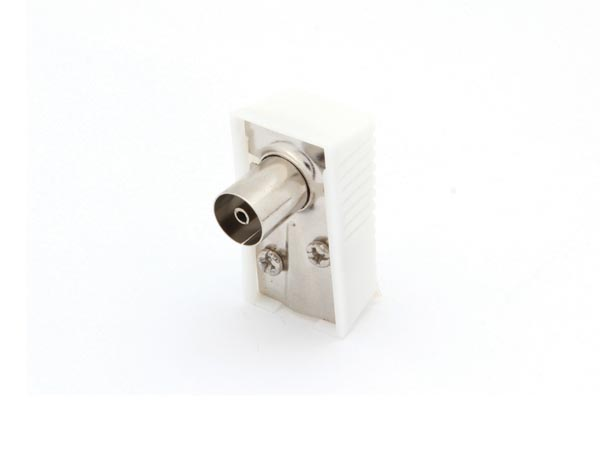 RIGHT-ANGLED TV PLUG 9.5mm/2.3mm - FEMALE - WHITE
