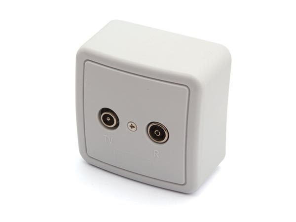 TV/FM SPLITTER, WITH COVER AND BOX FOR WALL MOUNTING - PASSTHROUGH TYPE