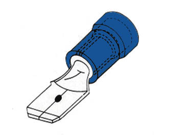 MALE CONNECTOR 6.4mm BLUE