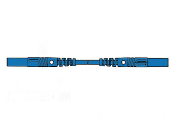 Contact Protected Measuring Lead 25cm, Blue, Straight Outlet 4mm - Mlb/gg-sh25/1