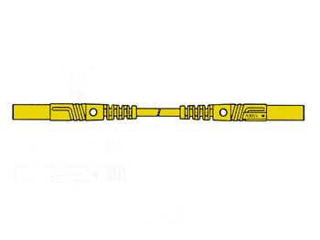 Contact Protected Measuring Lead 25cm, Yellow, Straight Outlet 4mm - Mlb/gg-sh25/1