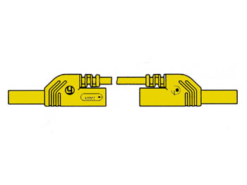 CONTACT PROTECTED INJECTION-MOULDED MEASURING LEAD 4mm 25cm / YELLOW (MLB-SH/WS 25/1)