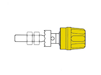 Pole Terminal With Claw Edge, Yellow, 4mm - Pk10a