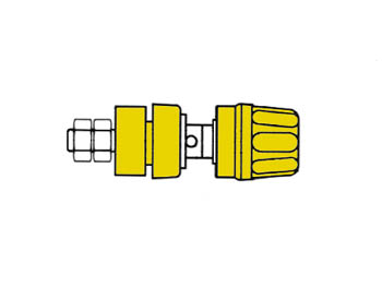 Insulated Pole Terminal With Claw Edge, Yellow, 4mm - Pki10a