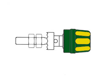 Pole Terminal With Claw Edge, Yellow/green, 4mm - Pk10a