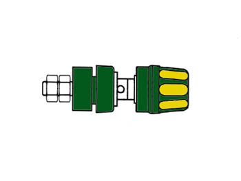 Insulated Pole Terminal With Claw Edge, Yellow/green, 4mm - Pki10a