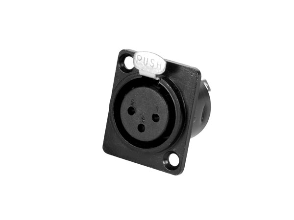 3P XLR CHASSIS CONNECTOR - FEMALE - BLACK