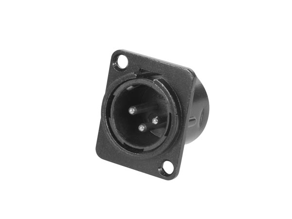 3P XLR CHASSIS CONNECTOR - MALE - BLACK