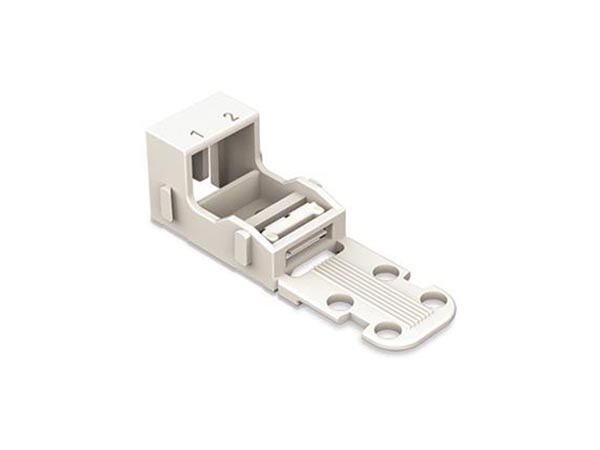 MOUNTING CARRIER - FOR 2-CONDUCTOR TERMINAL BLOCKS - 221 SERIES - 4 mm² - FOR SCREW MOUNTING - WHITE