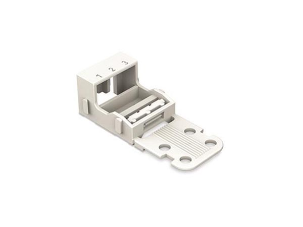 MOUNTING CARRIER - FOR 3-CONDUCTOR TERMINAL BLOCKS - 221 SERIES - 4 mm² - FOR SCREW MOUNTING - WHITE
