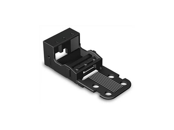 MOUNTING CARRIER - FOR 3-CONDUCTOR TERMINAL BLOCKS - 221 SERIES - 4 mm² - FOR SCREW MOUNTING - BLACK