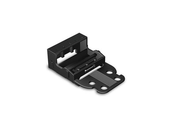 MOUNTING CARRIER - FOR 5-CONDUCTOR TERMINAL BLOCKS - 221 SERIES - 4 mm² - FOR SCREW MOUNTING - BLACK