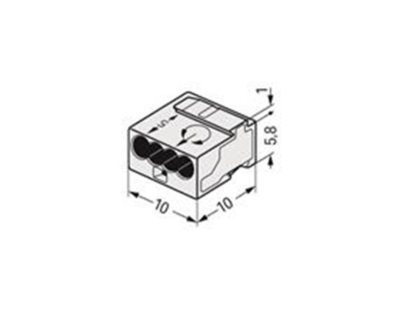 MICRO-konnektor: JUNCTION AND DISTRIBUTION CONNECTORS 4-CONDUCTOR TERMINAL BLOCK, LIGHT GREY