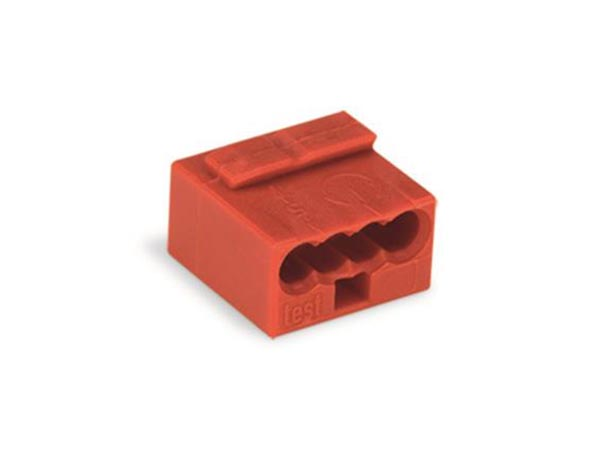 MICRO-konnektor: PUSH-WIRE , FOR JUNCTION BOXES 4-CONDUCTOR TERMINAL BLOCK, RED
