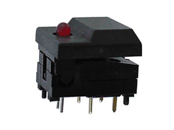 DIGITAST DIP PUSH-BUTTON SWITCH BLACK CAP - RED LED