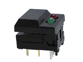 DIGITAST DIP PUSH-BUTTON SWITCH BLACK CAP - RED & GREEN LED