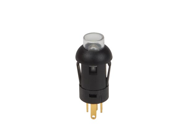 Push Button - Miniature - Round - Spst (off-on) - 1p - With Leads - White led