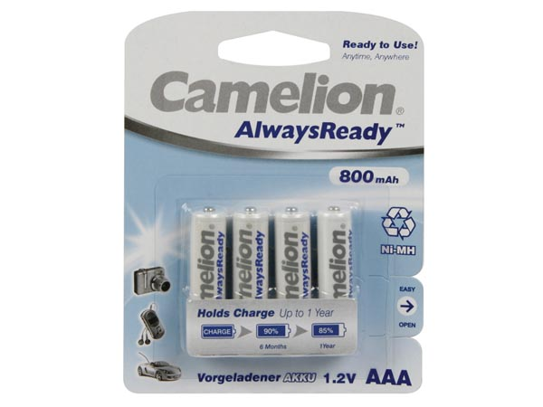 NiMH AAA 1.2V-800mAh (4/card) 'ALWAYSREADY™'