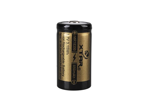 XTAR LITHIUM-ION 3.7 V - 850 mAh - 18350 - RECHARGEABLE ROUND CELL