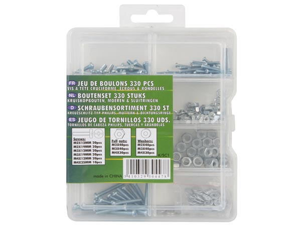 BOLT SET 330 PCS (PHILIPS SCREWS, NUTS & WASHERS)