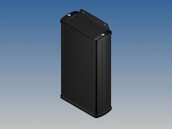 ALUMINIUM HOUSING - BLACK -160 x 85.8 x 36.9 mm - with flange
