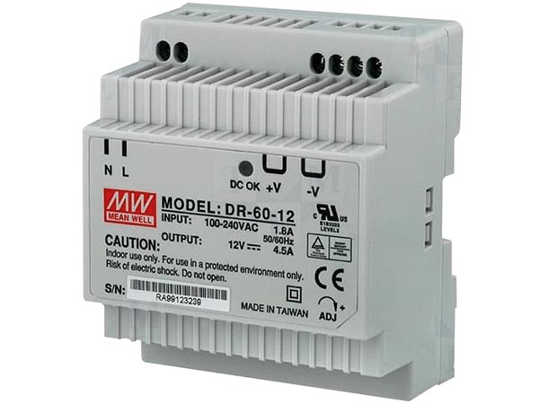 60 W SINGLE OUTPUT INDUSTRIAL DIN RAIL POWER SUPPLY 12 V 4.5 A - FOR PROFESSIONAL USE ONLY