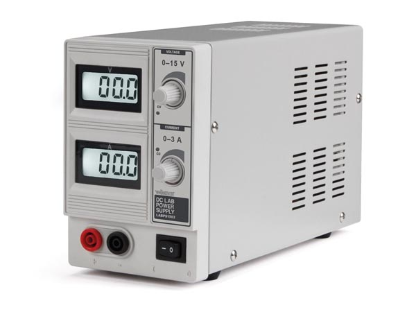 DC LAB POWER SUPPLY 0-15 VDC / 0-3 A MAX WITH DUAL LCD DISPLAY