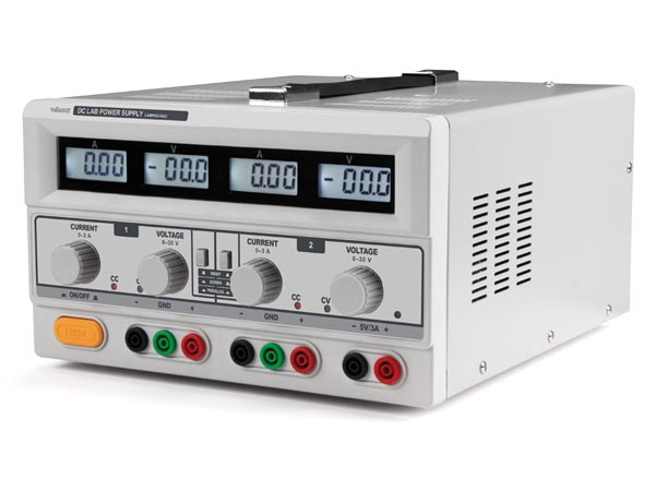 DC LAB POWER SUPPLY 0-30 VDC / 0-3 A 5 VDC / 3 A MAX WITH 4 LCD DISPLAYS