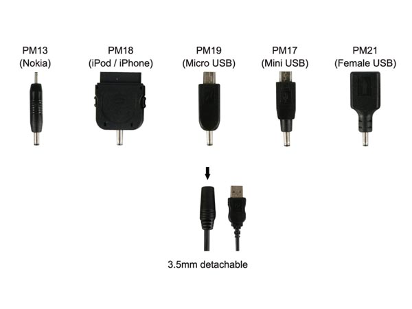 USB TO 3.5mm FEMALE CHARGING CABLE + 5 PLUGS