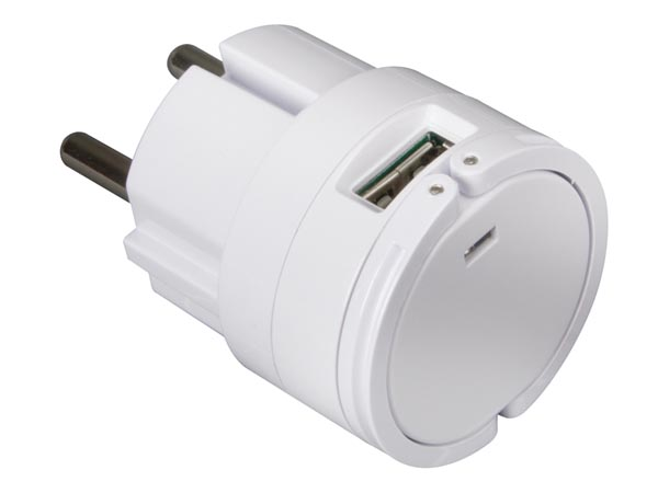 COMPACT WALL CHARGER WITH DUAL USB OUTPUT 5 V - 2.1 A MAX. (2.1 A OR 2 x 1A) - WHITE