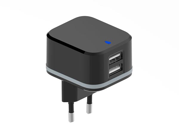 COMPACT CHARGER WITH DUAL USB OUTPUT - 5 V - 3.4 A max. (2.4 + 1 A) - 17 W max.